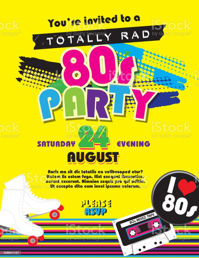 Eighties party themed invitation design template vector art illustration