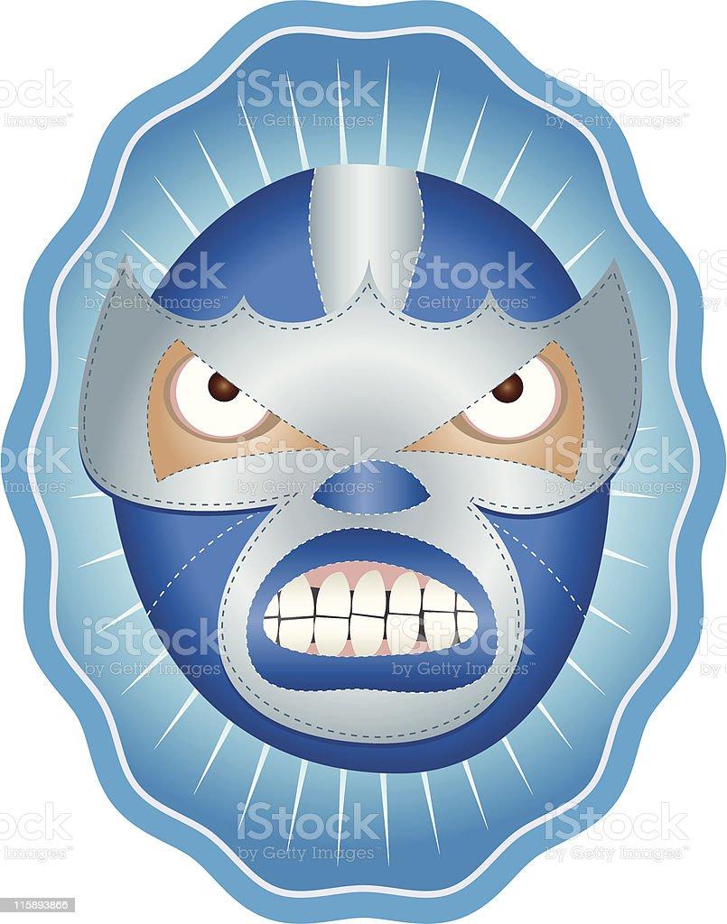 El Iceman Mexican Wrestler Mask vector art illustration