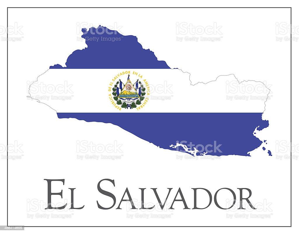 El Salvador flag map vector art illustration