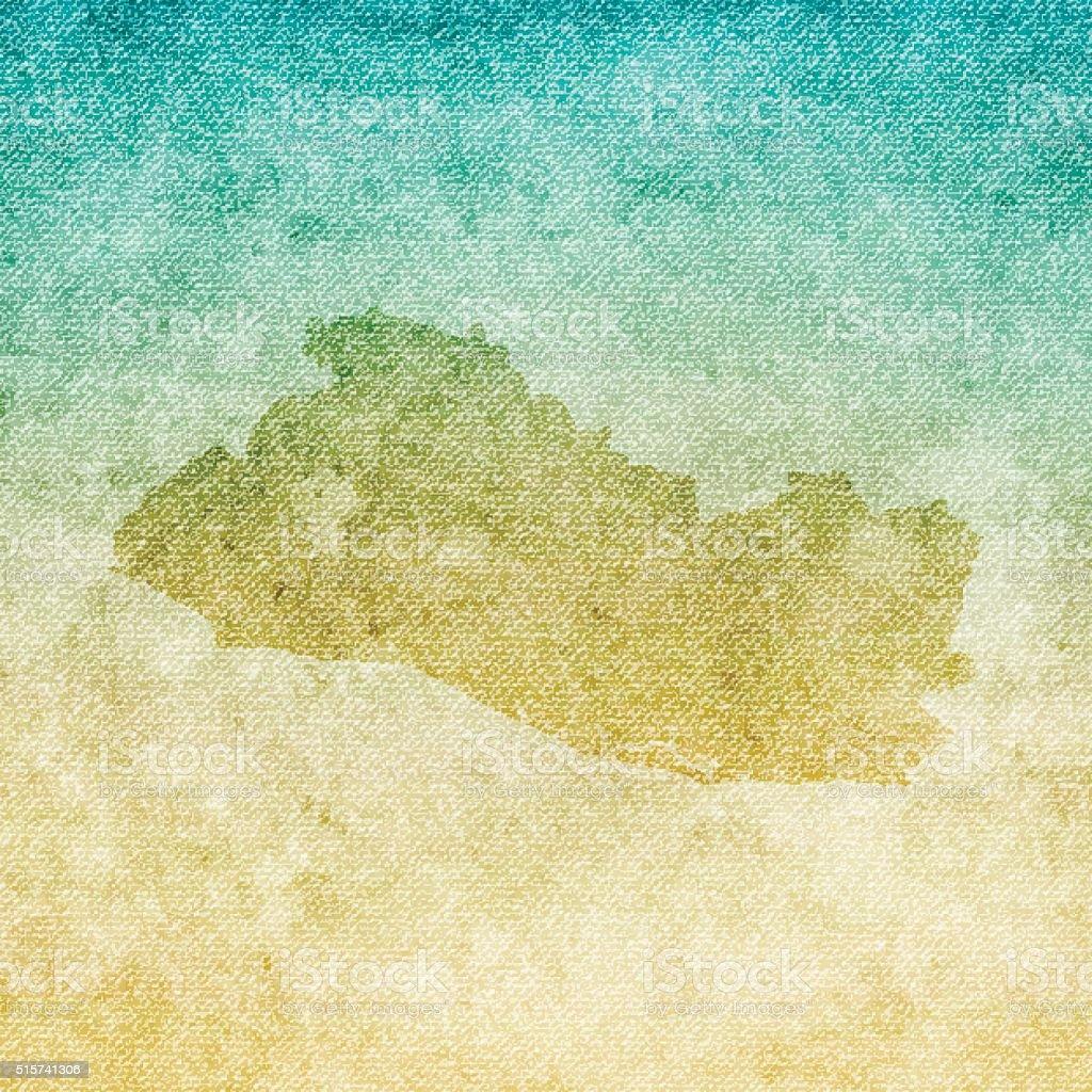 El Salvador Map on grunge Canvas Background vector art illustration