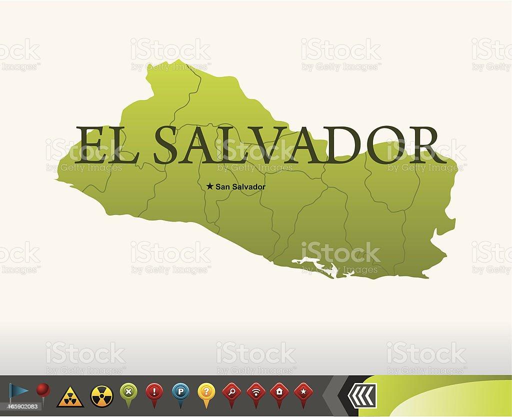 El Salvador map with navigation icons vector art illustration