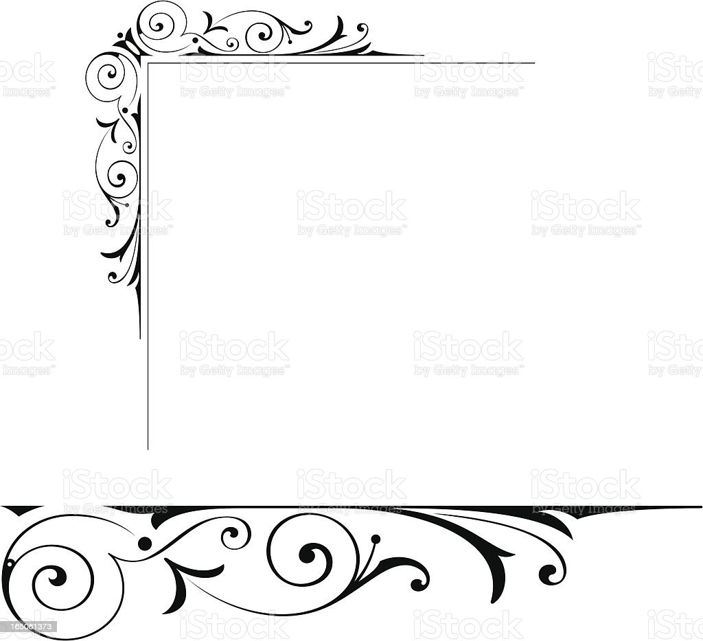 Elaborate Corner and End Scroll royalty-free stock vector art