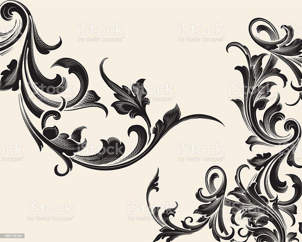 Elaborate Intertwine Set of scrollwork royalty-free stock vector art