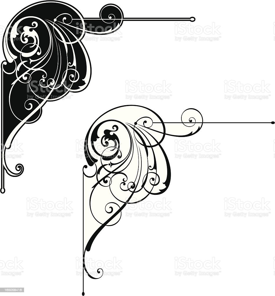 Elaborate Scroll Corner royalty-free stock vector art