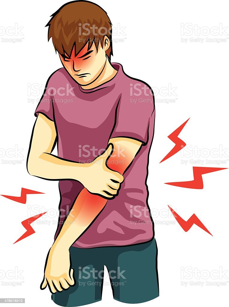 elbow pain vector vector art illustration
