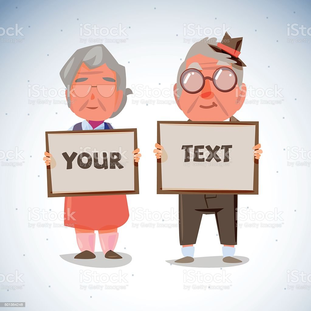 elder couple holding blank paper to presentation. old age concep vector art illustration