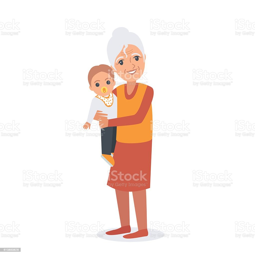 Elder woman with child vector art illustration