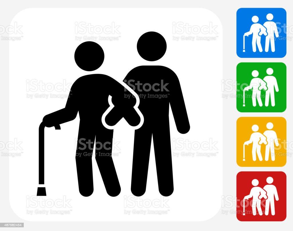 Elderly Assistance Icon Flat Graphic Design vector art illustration