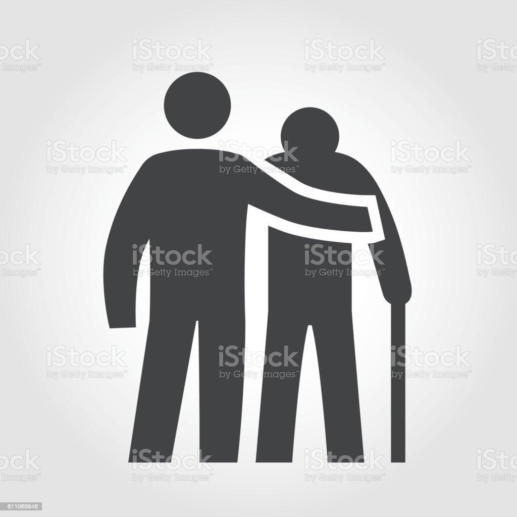 Elderly Assistance Icon - Iconic Series vector art illustration