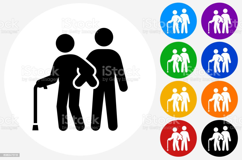 Elderly Assistance Icon on Flat Color Circle Buttons vector art illustration