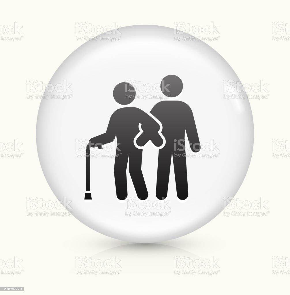 Elderly Assistance icon on white round vector button vector art illustration
