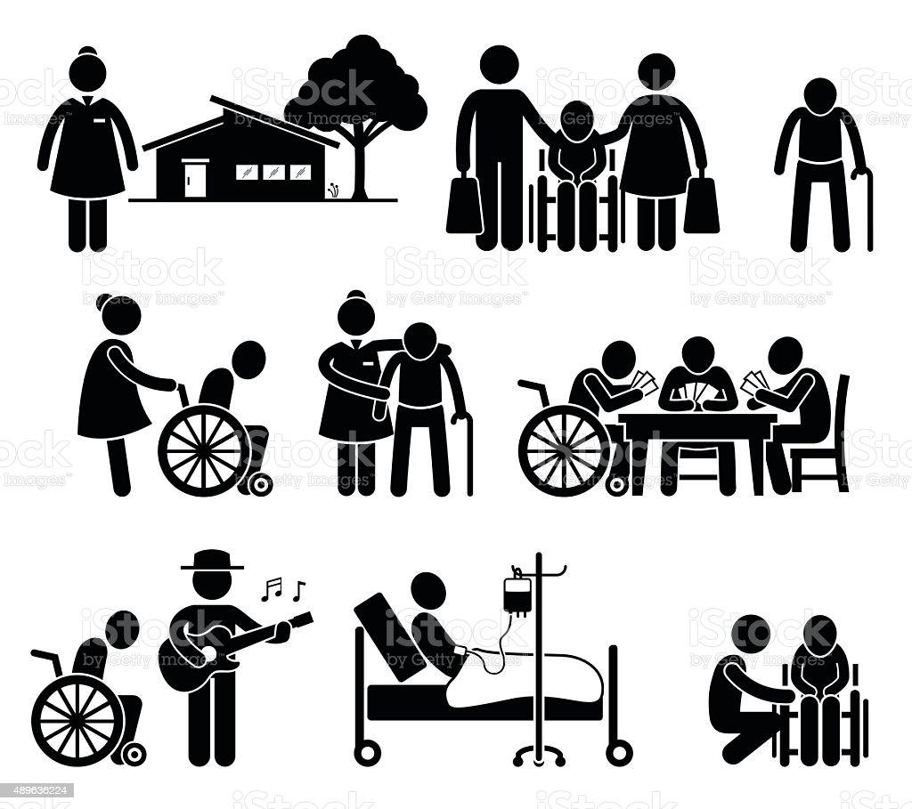 Elderly Care Nursing Old Folks Home Retirement Centre Pictogram vector art illustration