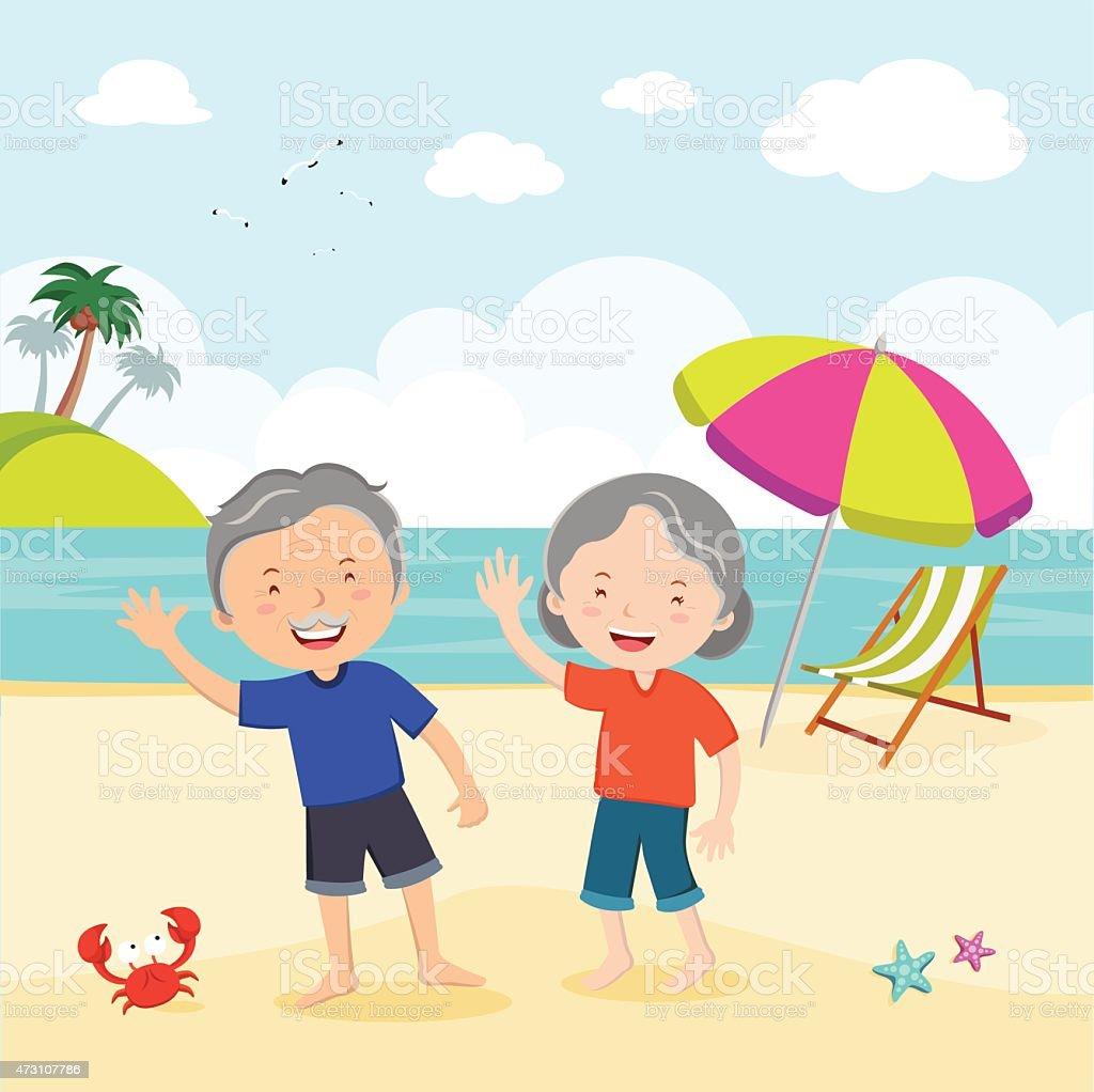 Elderly couple at the beach vector art illustration