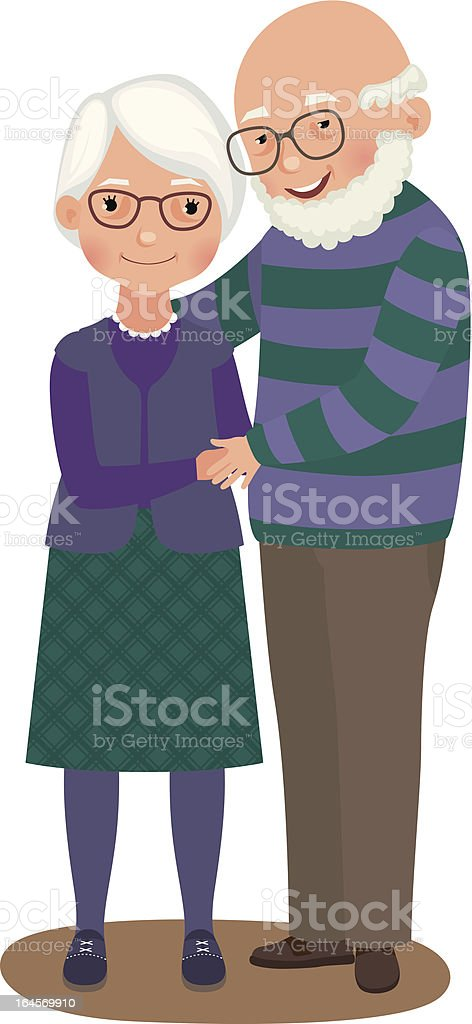 Elderly couple embrace in matching purple outfits royalty-free stock vector art