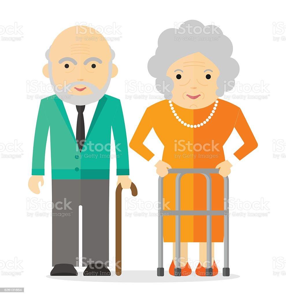 elderly couple happy vector art illustration