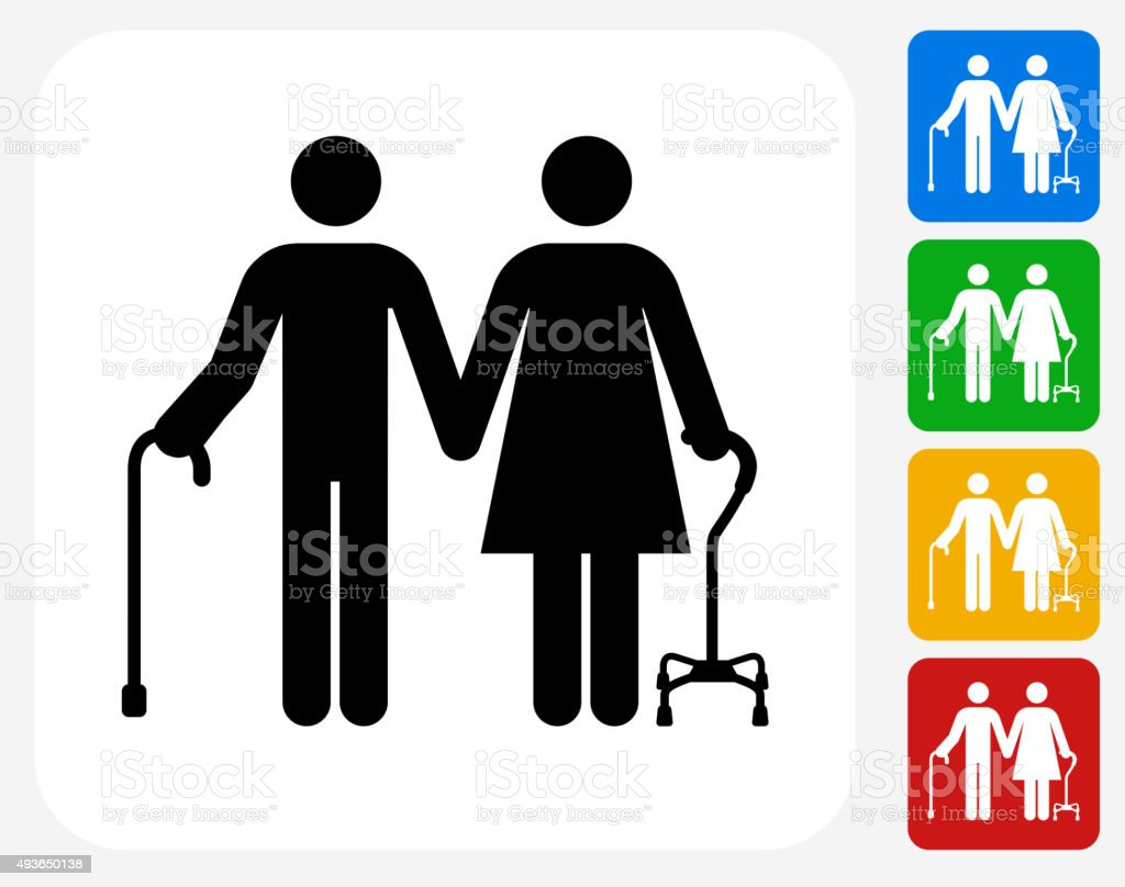 Elderly Couple Icon Flat Graphic Design vector art illustration