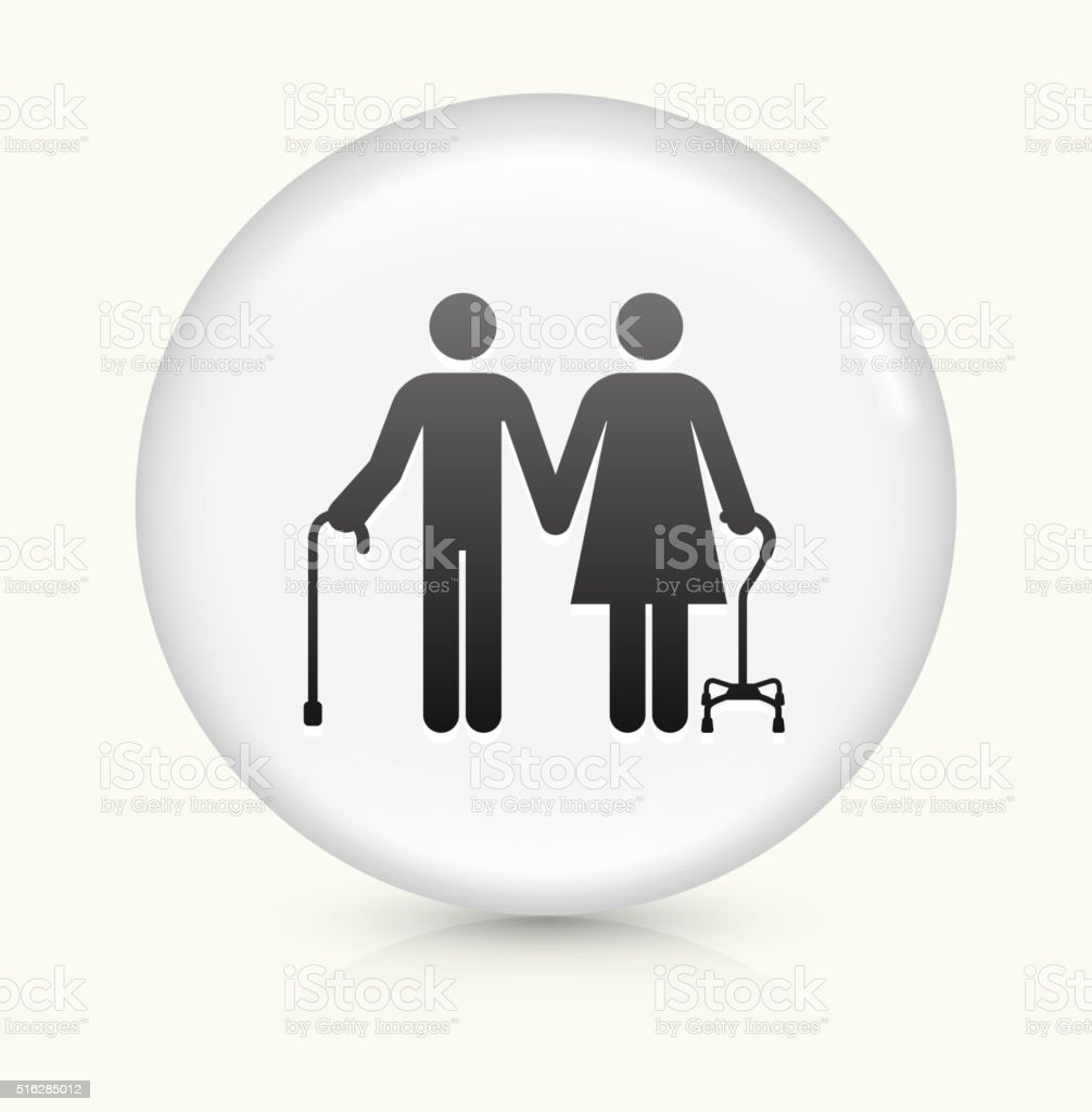 Elderly Couple icon on white round vector button vector art illustration