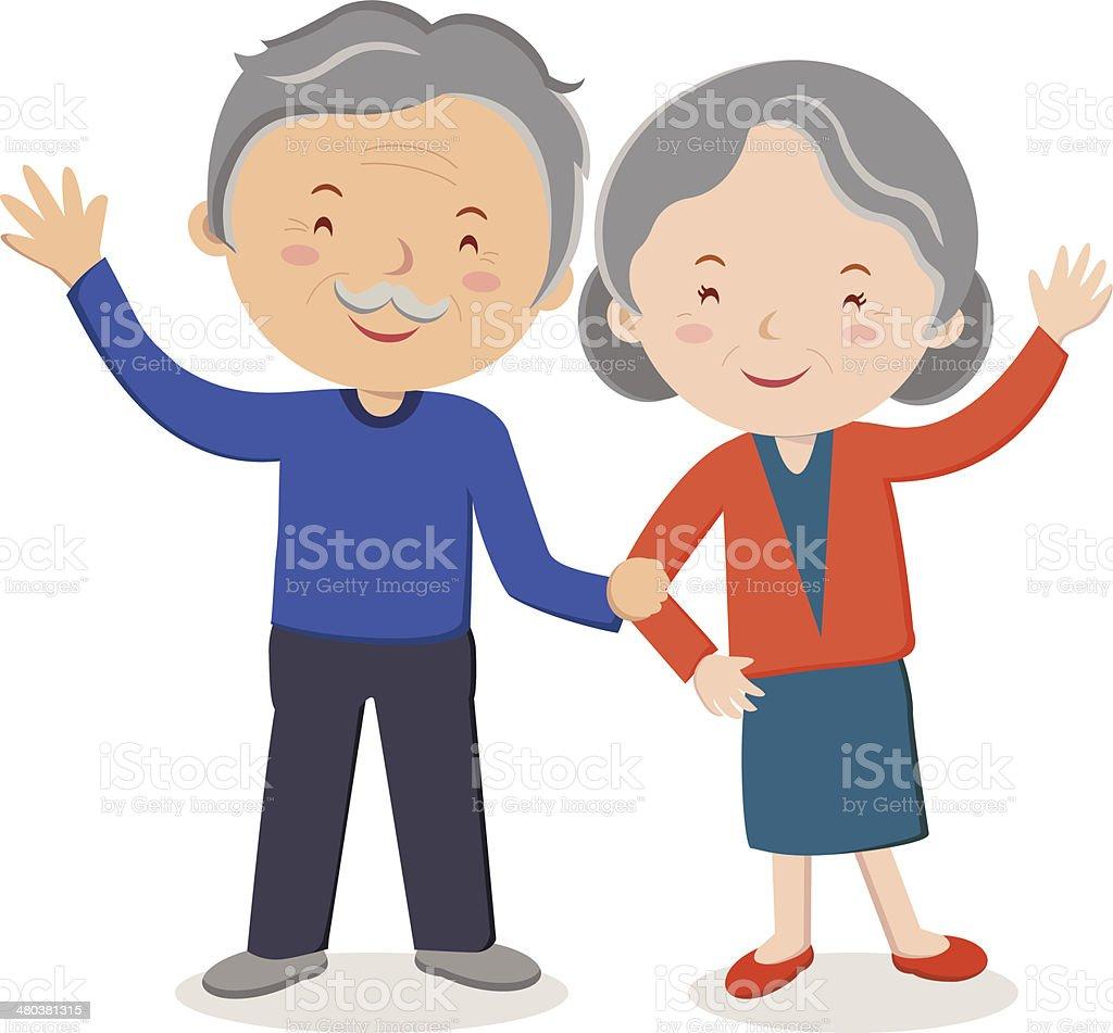 Elderly couple portrait vector art illustration