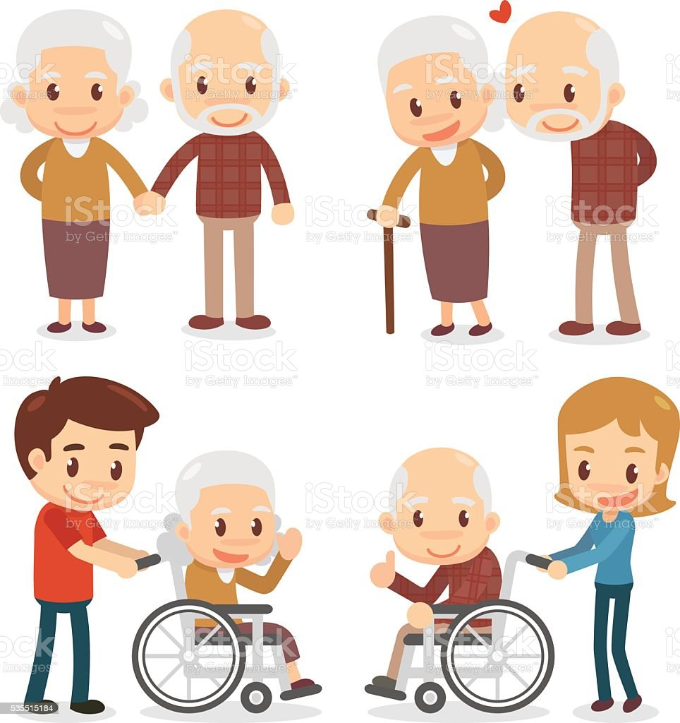 Elderly couple. Seniors couple vector art illustration