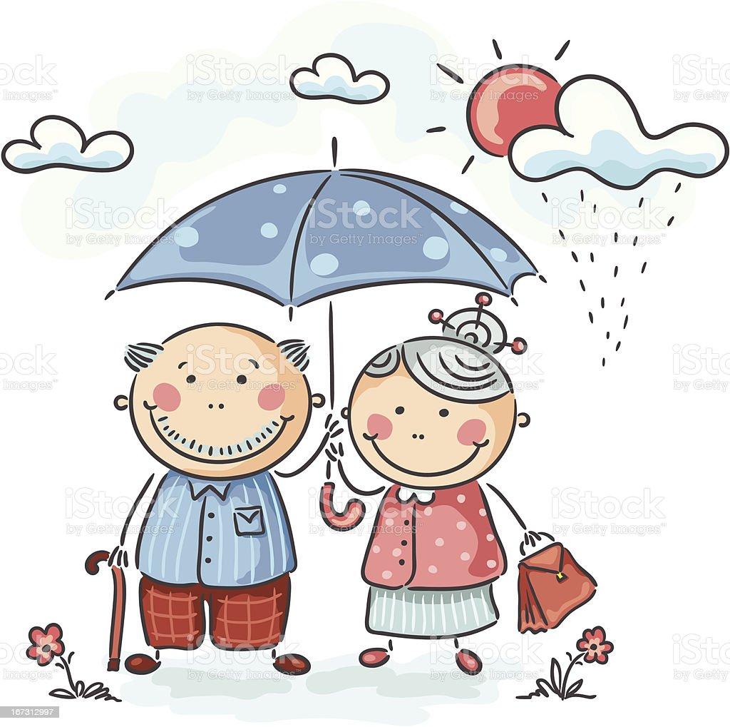 Elderly couple royalty-free stock vector art