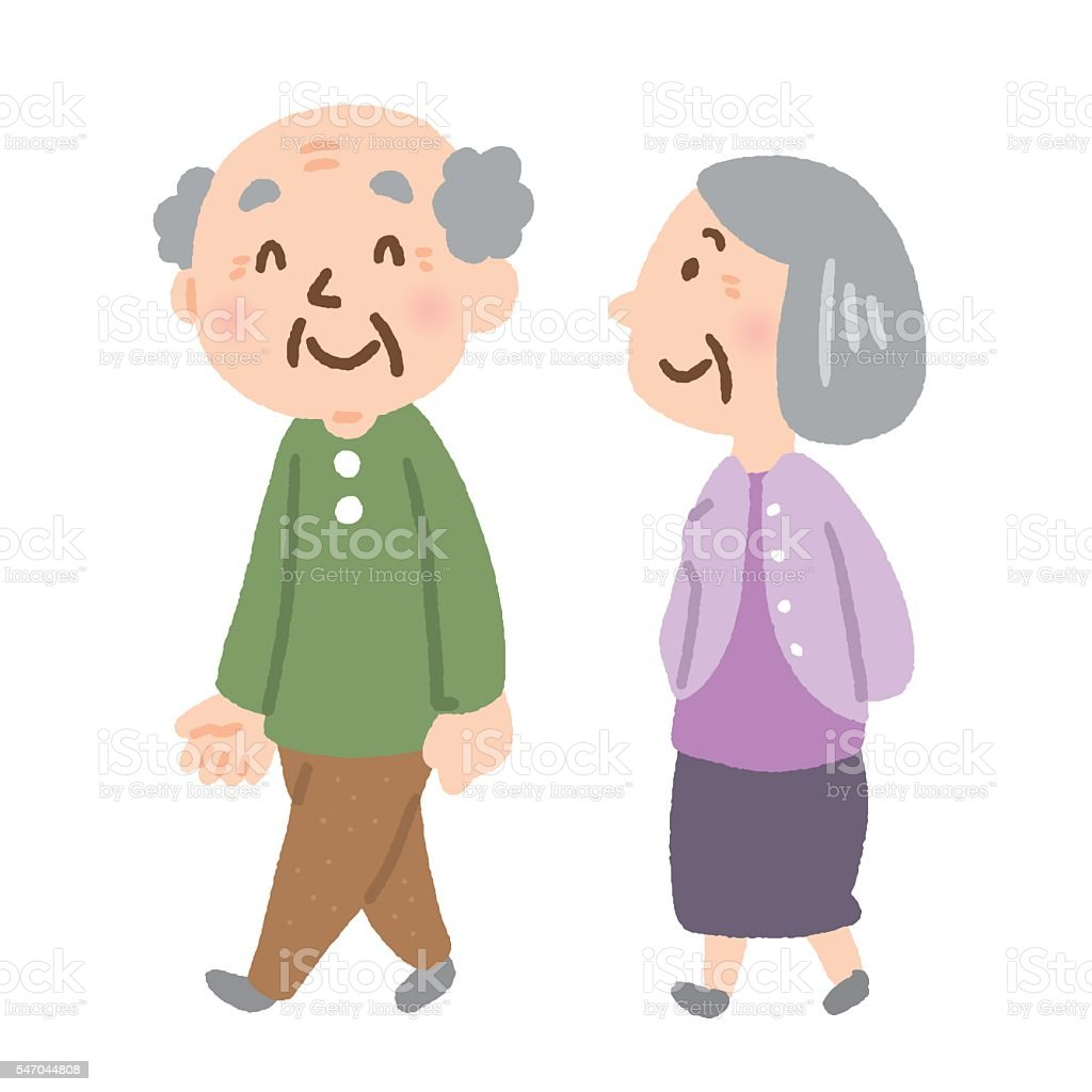 elderly couple vector art illustration