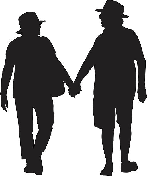 Two Men In Hats Walking Together Clip Art, Vector Images
