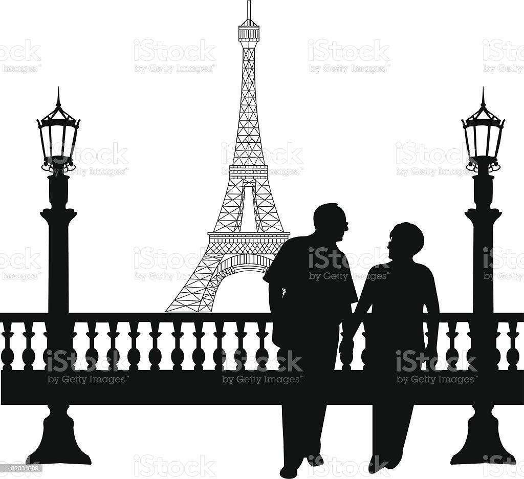 Elderly couple walking in front of Eiffel tower in Paris vector art illustration