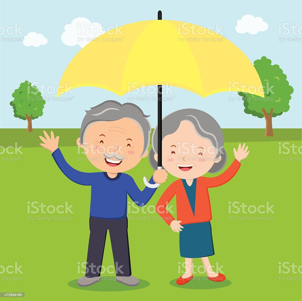 Elderly couple with umbrella vector art illustration