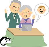 Elderly couple,PC
