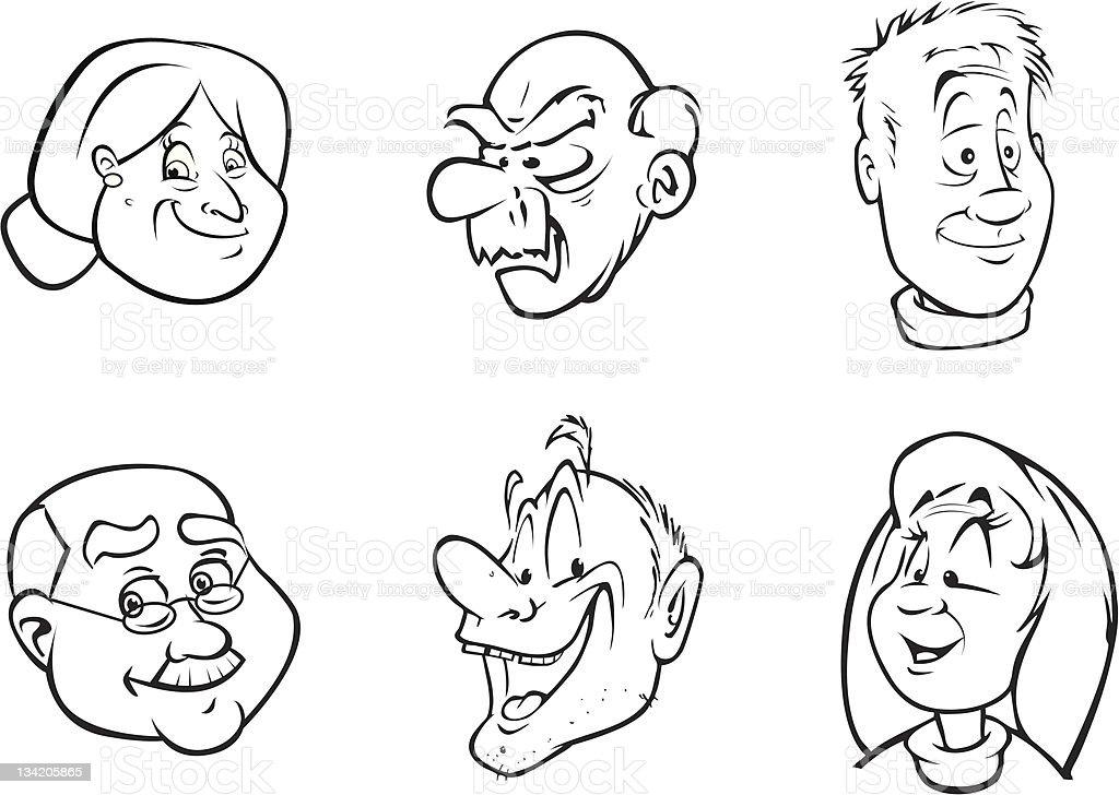 elderly faces vector art illustration