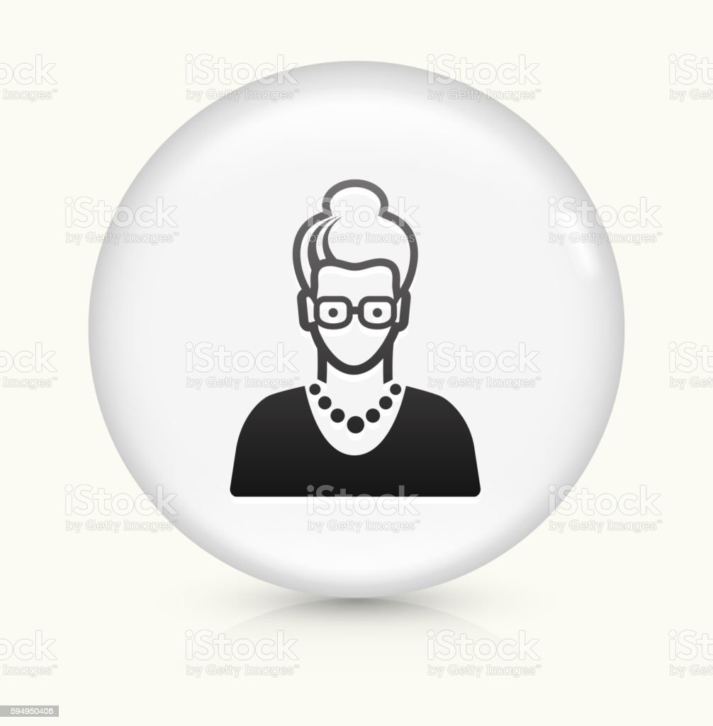 Elderly Female Face icon on white round vector button vector art illustration