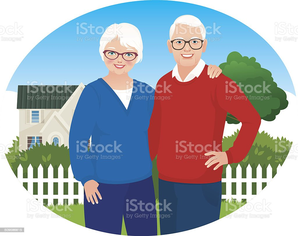 Elderly husband and wife are in their household vector art illustration