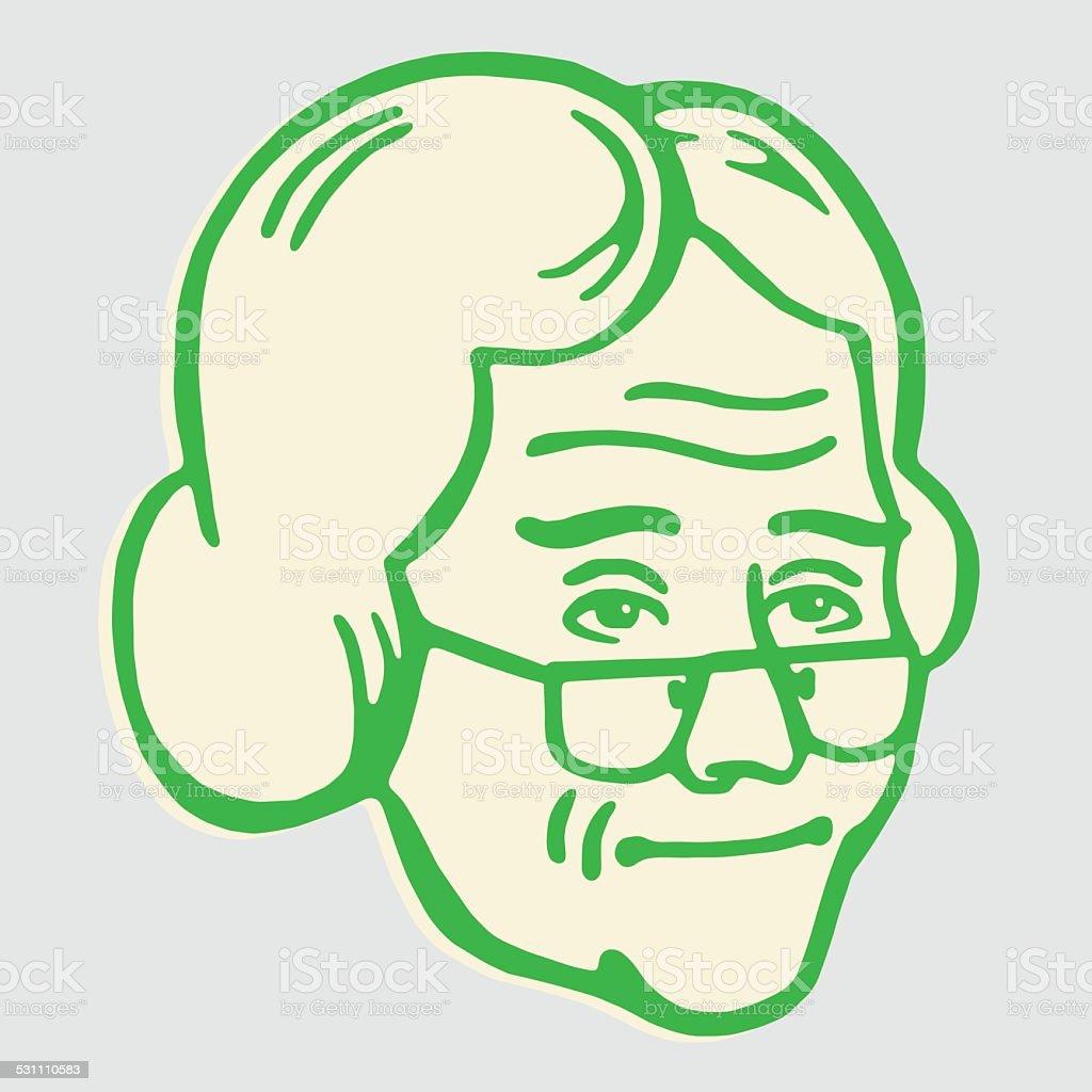Elderly Lady vector art illustration