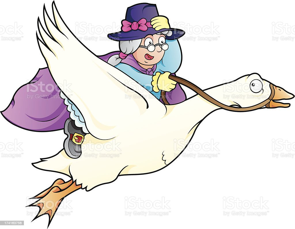 Elderly lady with magical powers flying on top of a goose vector art illustration