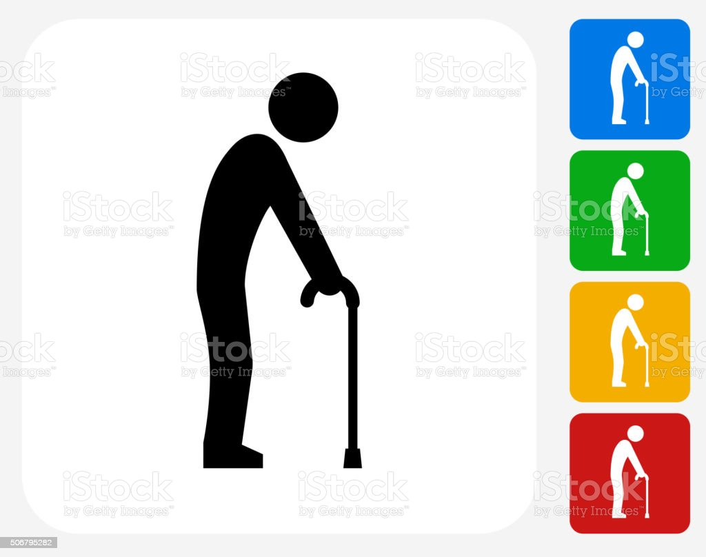 Elderly Man Holding Cane Icon Flat Graphic Design vector art illustration