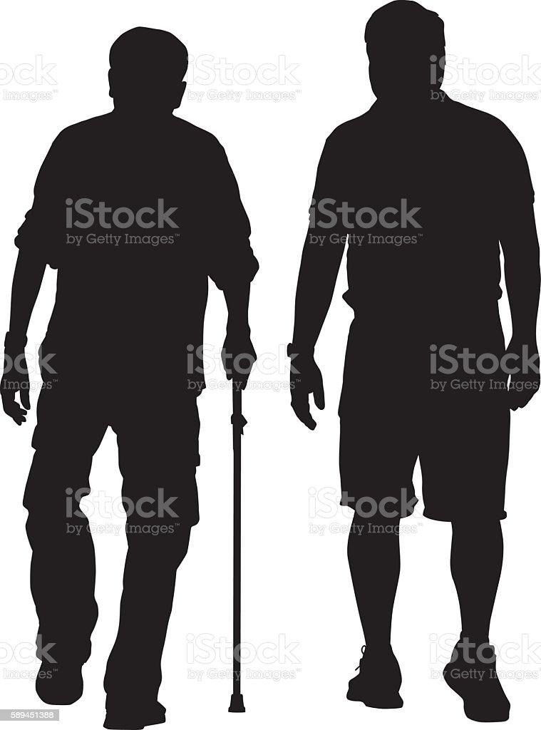 Elderly Man Walking With Caregiver vector art illustration