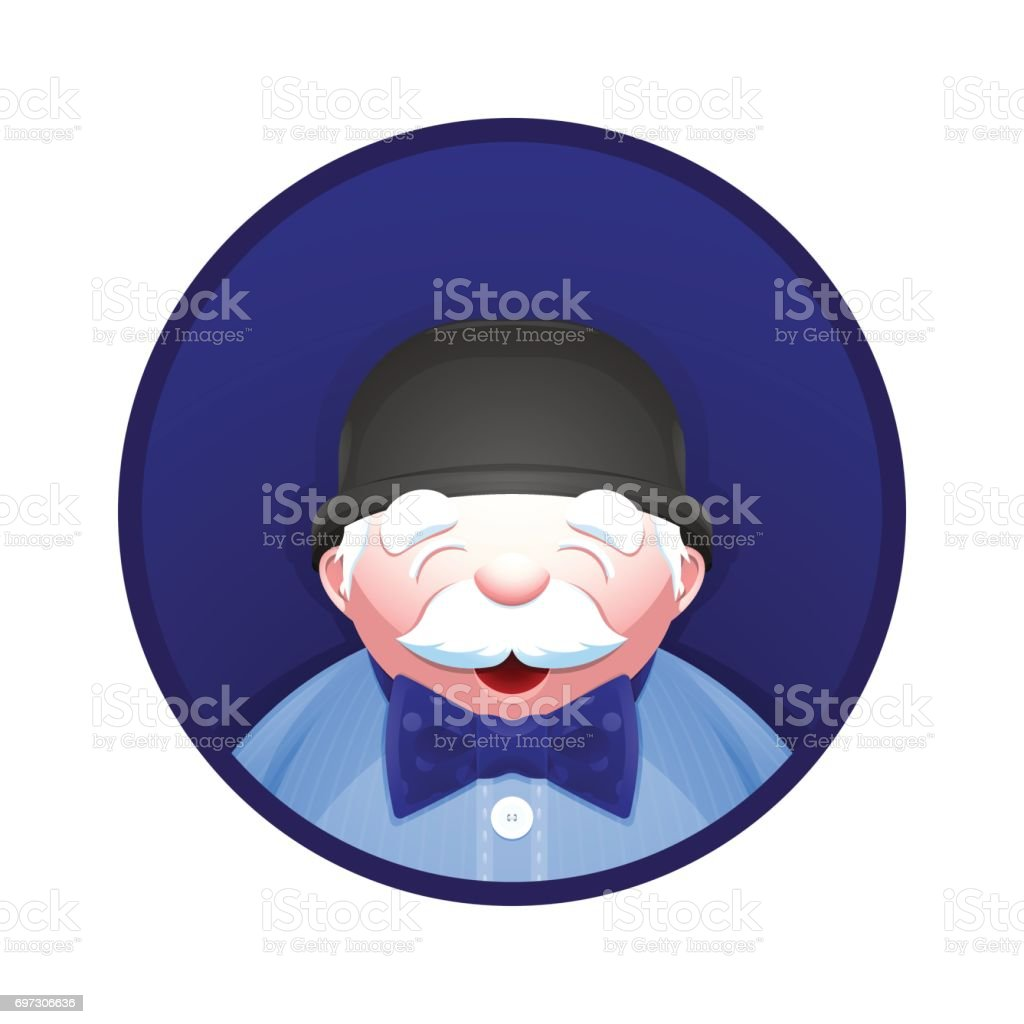 Elderly man with fashion accessories: bowler hat and bow tie vector art illustration