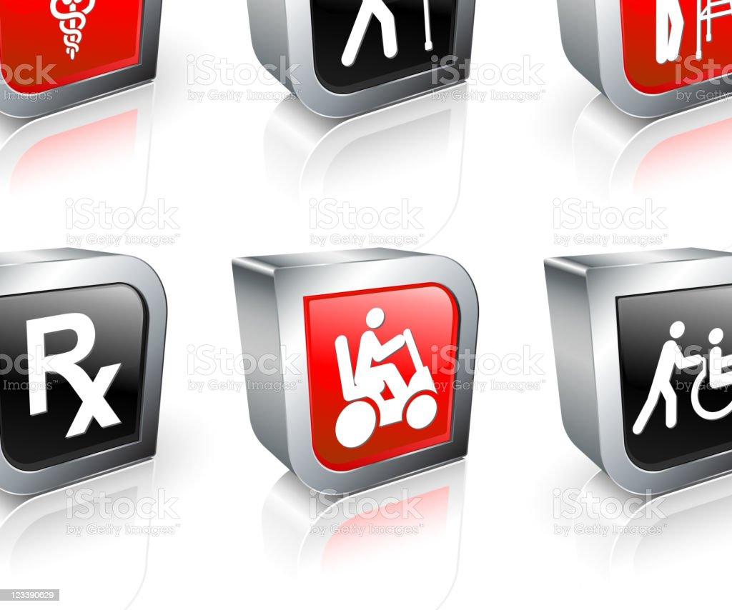 elderly medical coverage 3D icon set vector art illustration