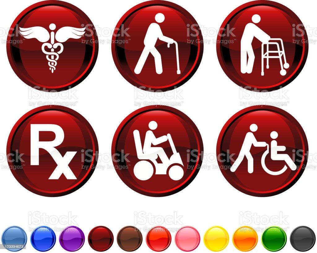 elderly medical coverage icon set vector art illustration