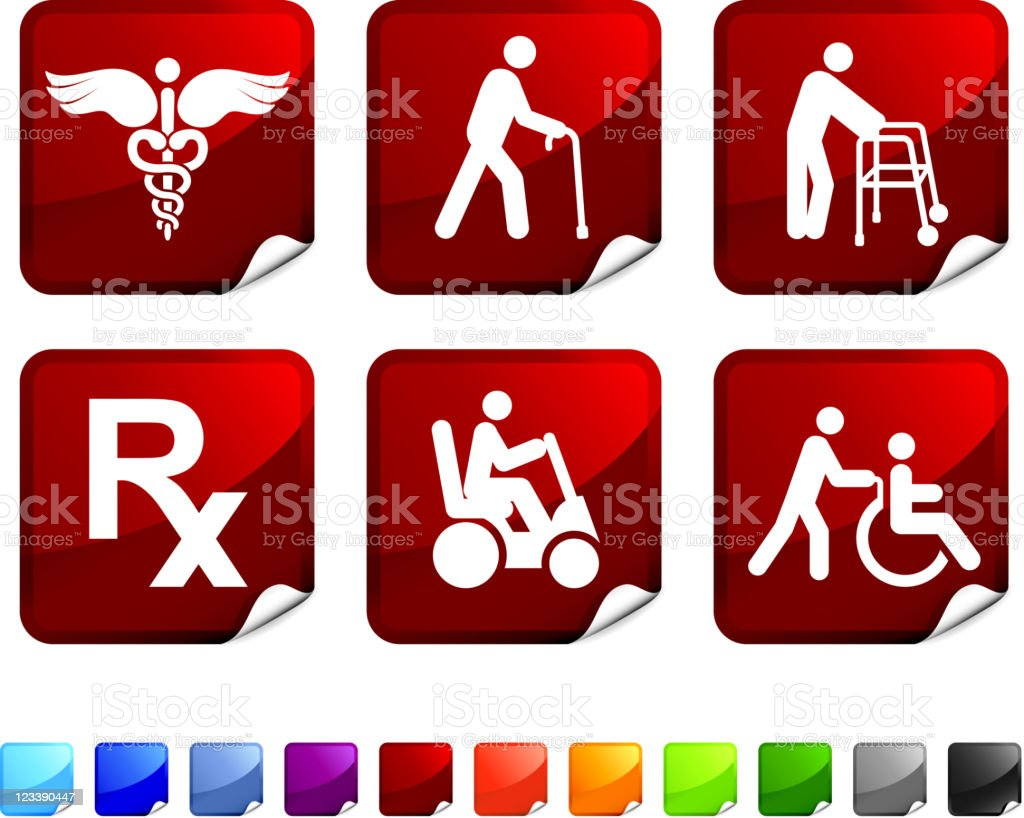 Elderly medical coverage royalty free vector icon set stickers rx symbol black color blue caduceus buycottarizona