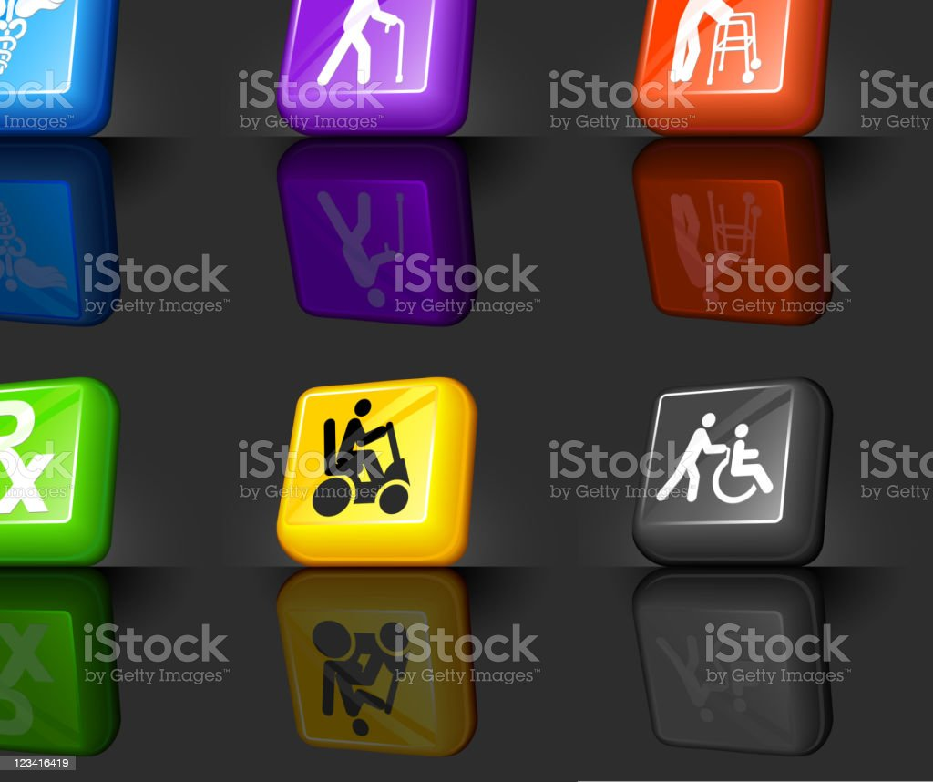 elderly medical coverage Web 2.0 internet icon set vector art illustration
