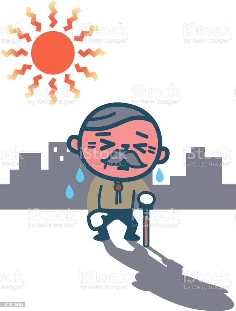 Elderly men suffering from heatstroke vector art illustration