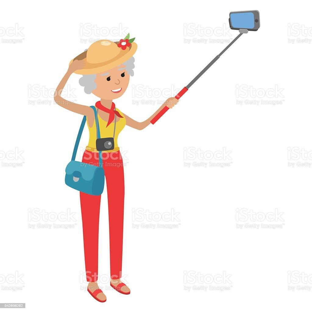Elderly woman using mobile phone. Grandmother makes selfie on smartphone. vector art illustration