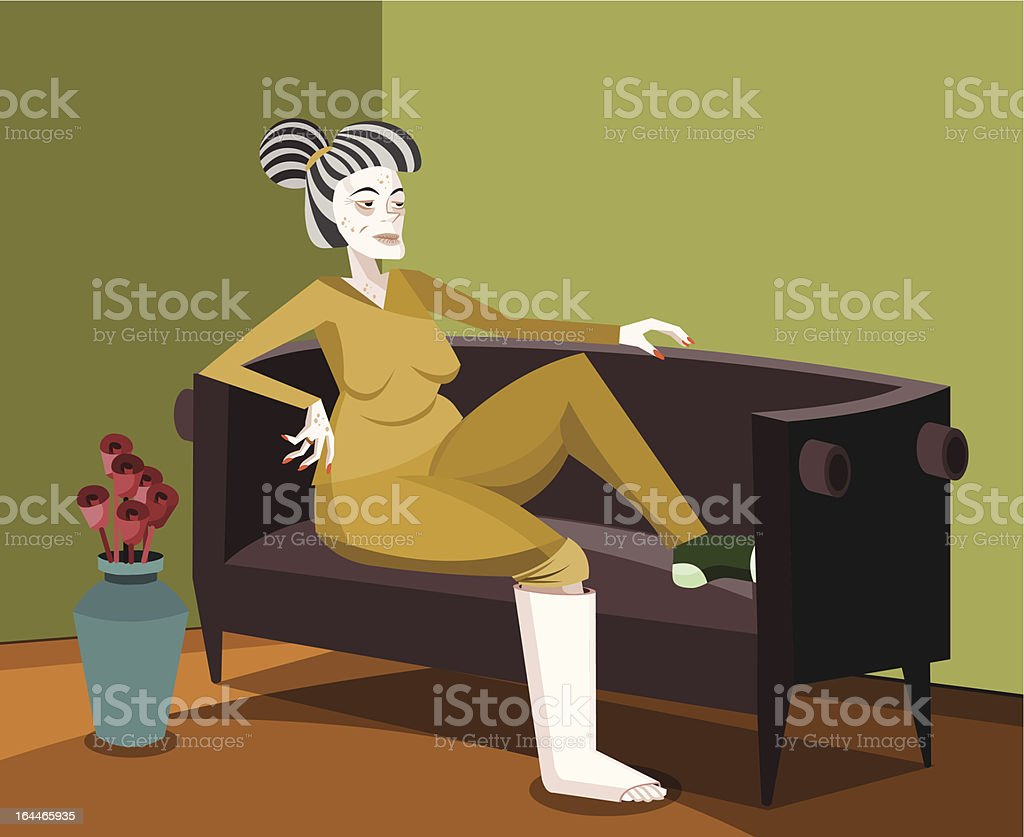Elderly Woman with Plaster Cast royalty-free stock vector art