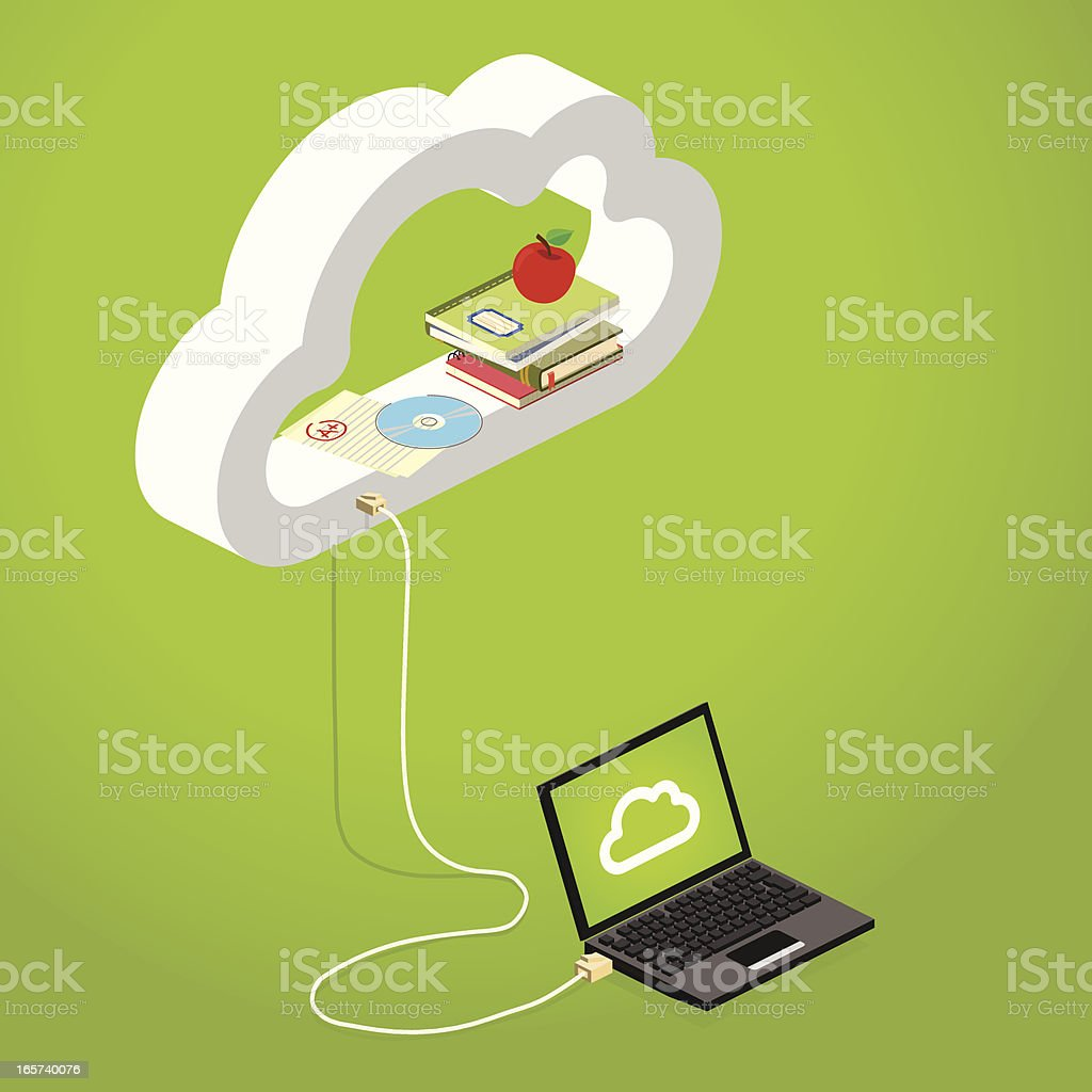 Graphic of laptop showing e-learning on lime green royalty-free stock vector art