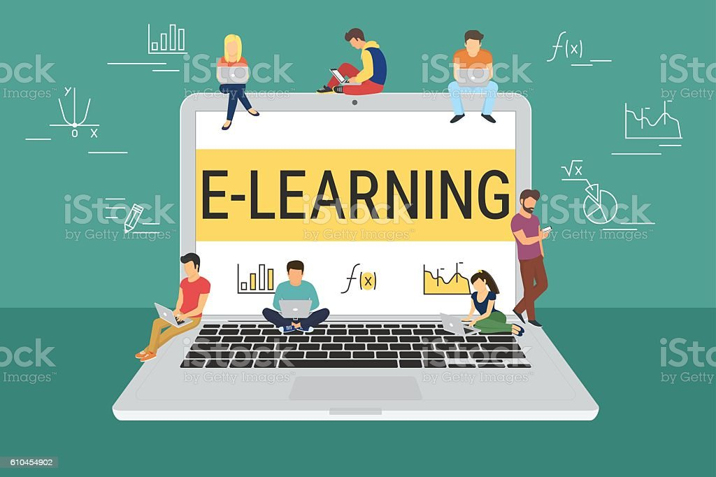 E-learning concept illustration vector art illustration