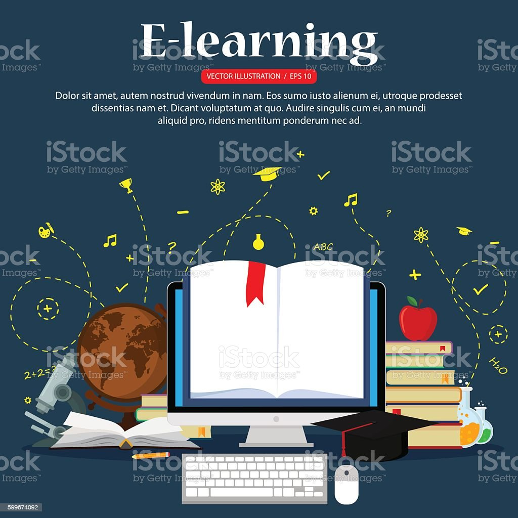 E-learning concepts vector art illustration