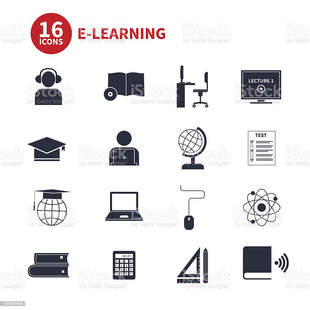 Elearning Icons Stockvektorgrafik 383305903  Shutterstock