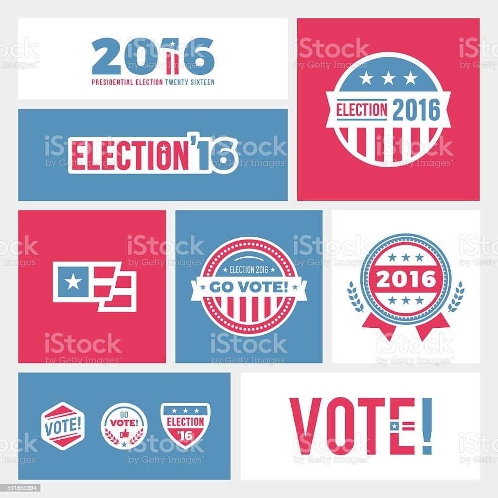 Election 2016 Badges & Graphics vector art illustration