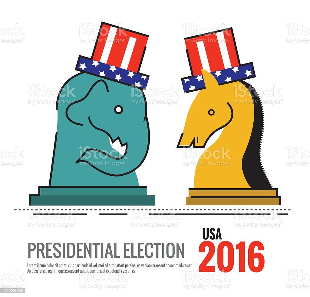 Election 2016 USA concept. the elephant and donkey Chess board. vector art illustration
